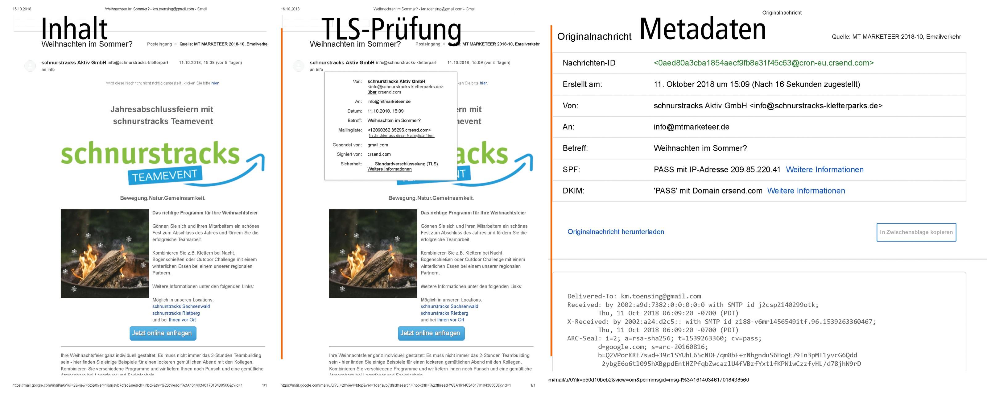 DS-DVO - Email, ein Beispiel E-Mails enthalten zusätzlich zu den Inhaltsdaten (d.h. dem Text der Mail und etwaigen Anhängen) auch Metadaten wie Absender und Empfänger, das Datum und den Betreff. Sowohl Inhalts- als auch Metadaten können personenbezogene Daten beinhalten. Daher sind bei der datenschutzrechtlichen Beurteilung beide Datenarten zu berücksichtigen. Quelle und (c): LDI.NRW.DE und MT MARKETEER, Michael Tönsing