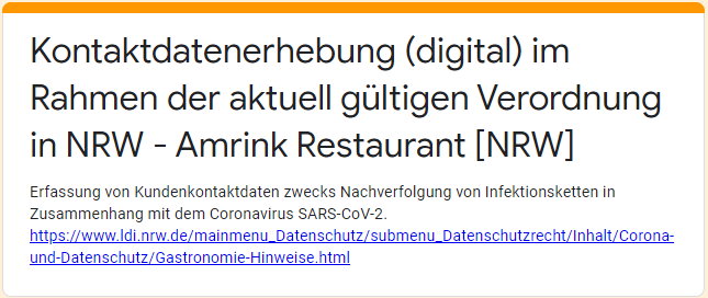 Kontaktdatenerhebung (digital) im Rahmen der aktuell gültigen Verordnung in NRW – Amrink Restaurant [NRW]