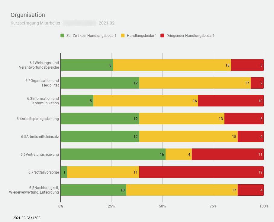 """Beschäftigtenbefragung - Auswertung individueller Fragebogen Modul """"Organisation - (c) 2021 MT MARKETEER - Dipl.-Kfm. Michael Tönsing"""